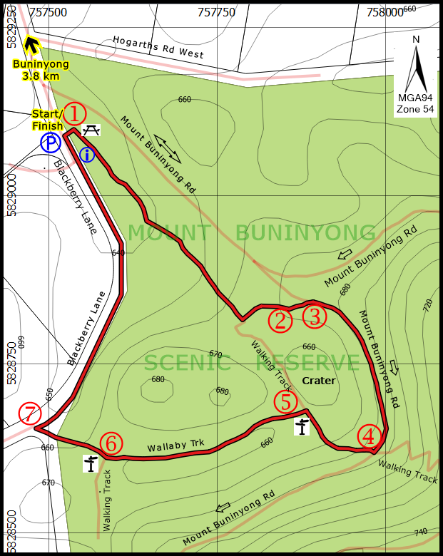 Mt Buninyong Crater walk map