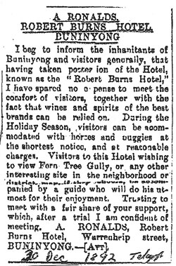 "Letter advertising the ""Robert Burns Hotel"""