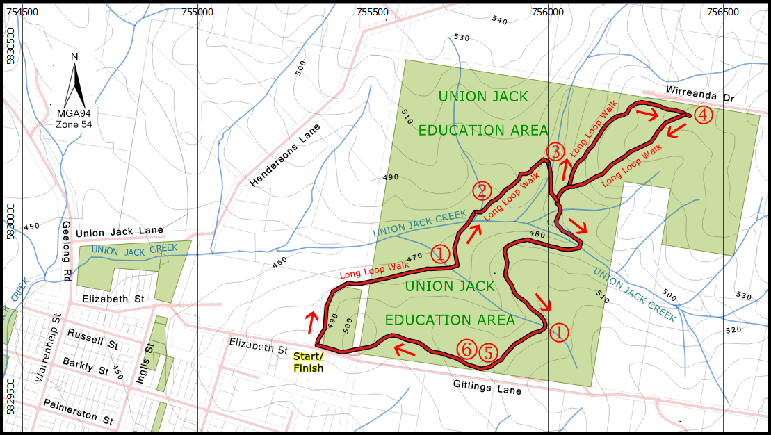 Union Jack Reserve map